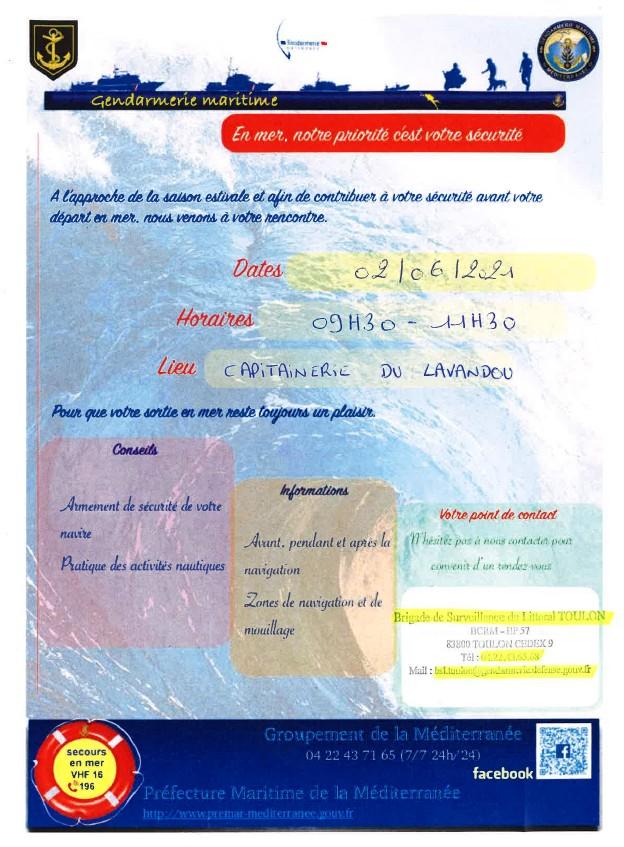 Mercredi 02 juin – sensibilisation à la sécurité en mer