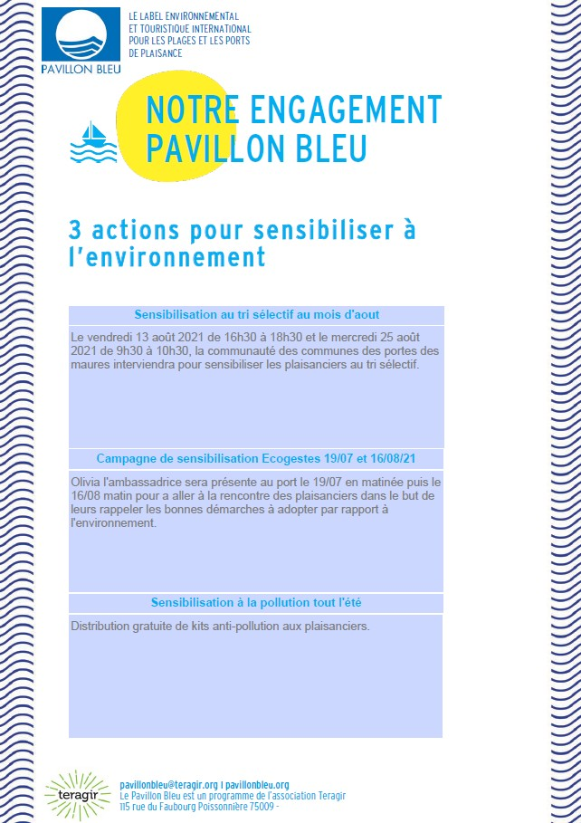 Pavillon bleu – sensibilisation